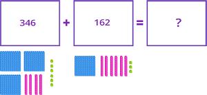 Addition using base 10 blocks