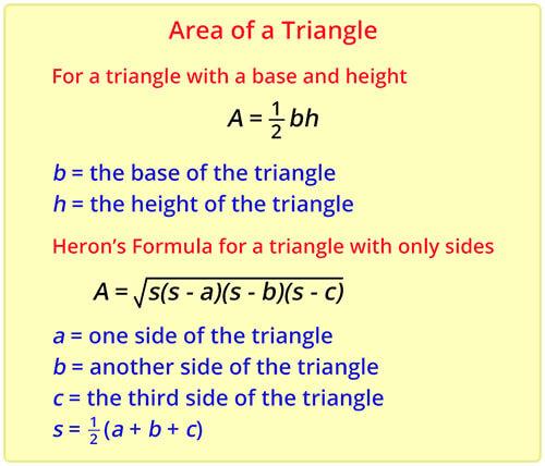 formula of area of triangle