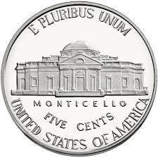 Tail of 1 Nickel coin