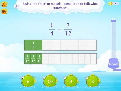 Identify the missing number in a fraction equation using fractional strips