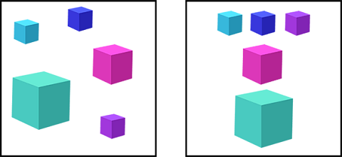 Ordered presentation of different color and size Cubes
