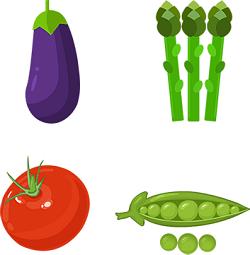 Eggplant peas tomato asparagus bean