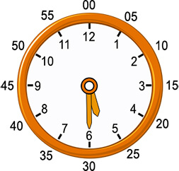 Regular 12 hour analog clock with minute and hour markings