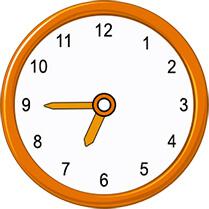 quarter to 6 on analog clock