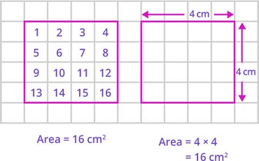 Area by counting squares and formula