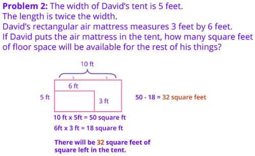 Word problem rectangular area