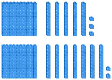 Addition of 153 and 172 using base 10 blocks