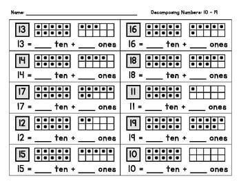 Decomposing teen numbers worksheet