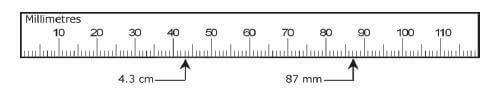 Mili meter ruler