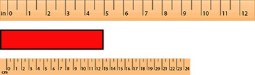Object with CM and inch ruler