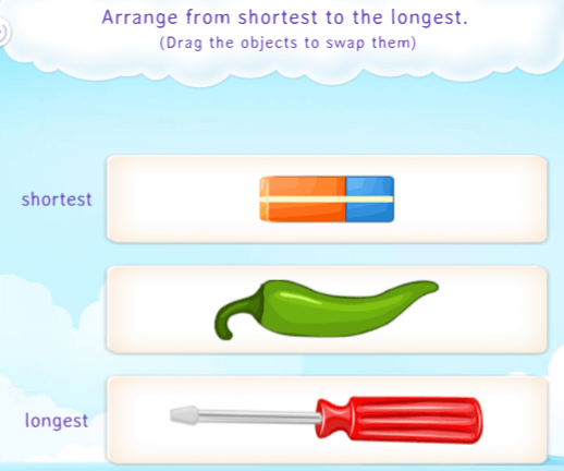 Compare and arrange three or more similar objects