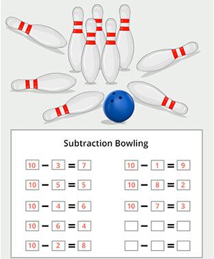 Subtraction bowling worksheet