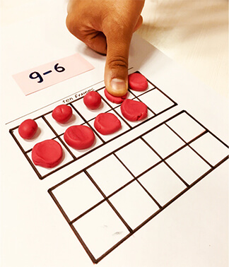 Subtraction game on ten frame