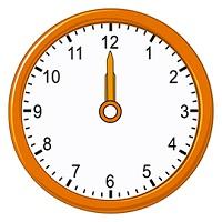 12 O clock on an analog clock